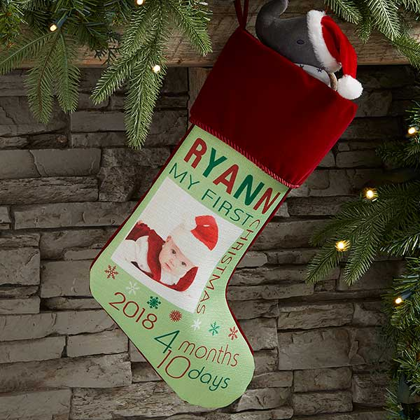 Baby's First Christmas Stocking Photo Personalized  - 17461