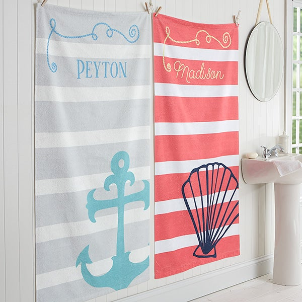 Personalized Nautical Bath Towel - 17464