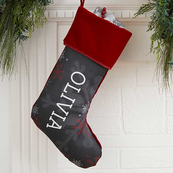 0e0cff652034 Personalized Chalkboard Christmas Stocking - Snowflakes