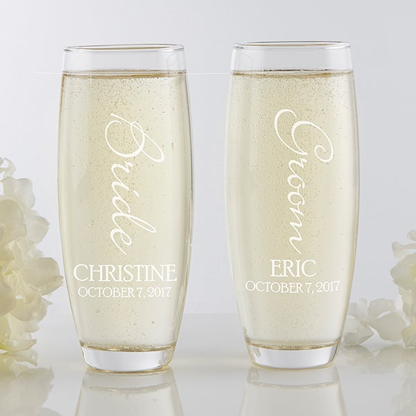 Personalized Wedding Stemless Champagne Flute Set - Bridal Couple - 17468