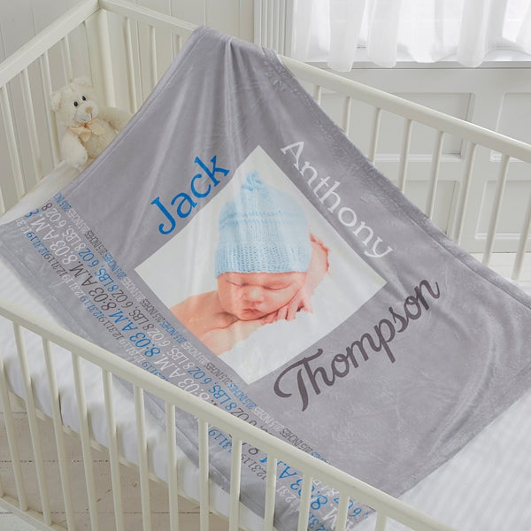 Personalized Baby Boy Fleece Photo Blanket - Darling Baby Boy - 17470