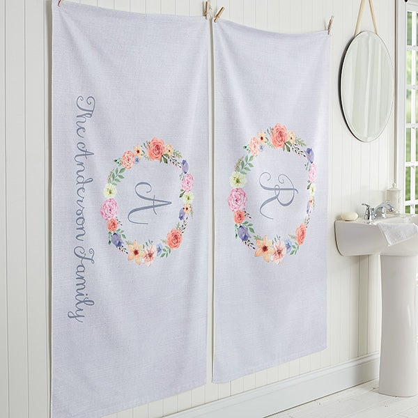 Personalized Monogram Bath Towels - Floral Wreath - 17476