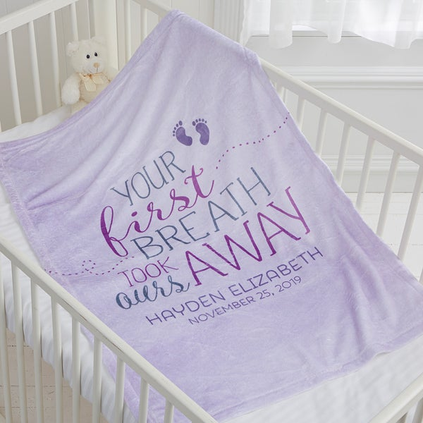 Personalized Fleece Baby Blankets - You Took Our Breath Away - 17483