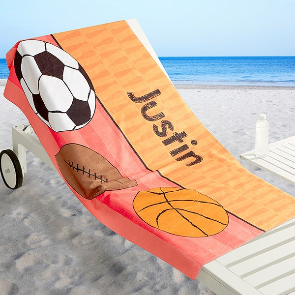 Personalized Boys Beach Towel - Just For Him - 17486