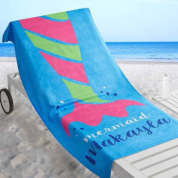 Personalized Shark and Mermaid Beach Towel - Aquatic Life - 17487