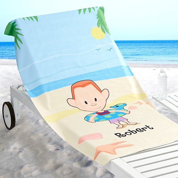 Personalized Summer Beach Towel - Summer Family Characters - 17490