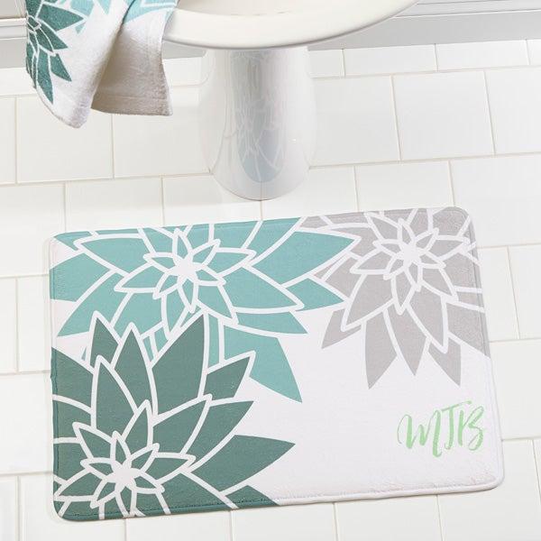 Personalized Memory Foam Bath Mat - Mod Floral - 17495