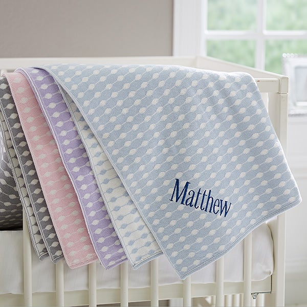 Embroidered Knit Baby Blanket - Trendy Dots - 17510