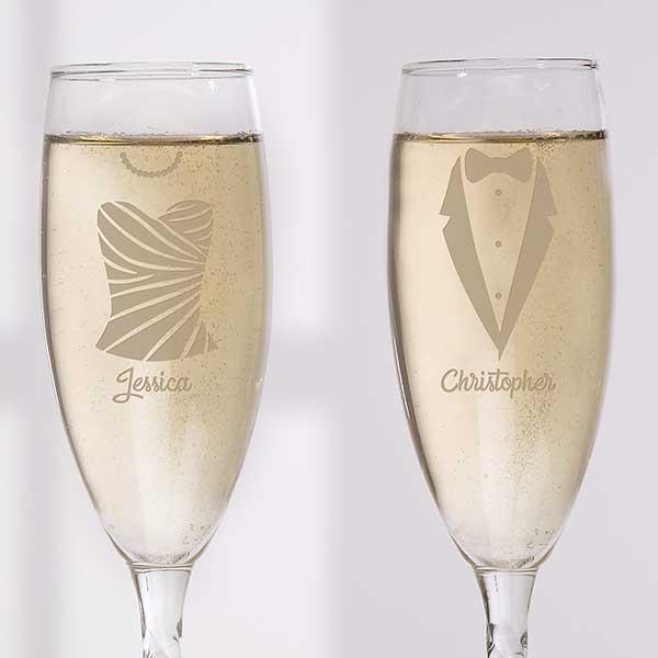 Personalized Wedding Stemless Champagne Flute Set - Wedding Attire - 17524