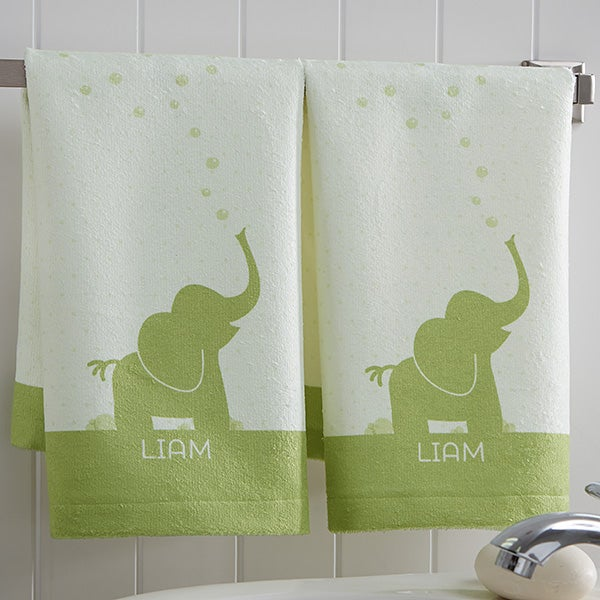 Personalized Kids Animal Hand Towel Set - Baby Zoo Animals - 17538