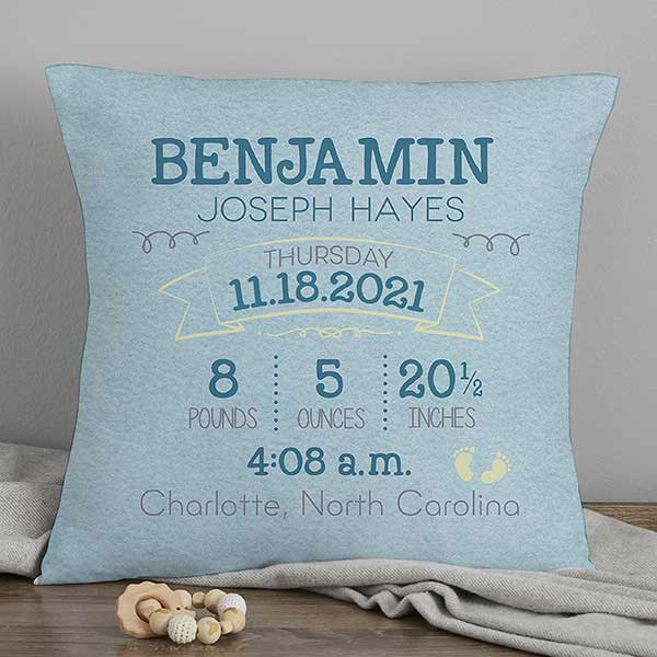 Personalized Keepsake First Birthday Birth Announcement Pillow Nursery Decor