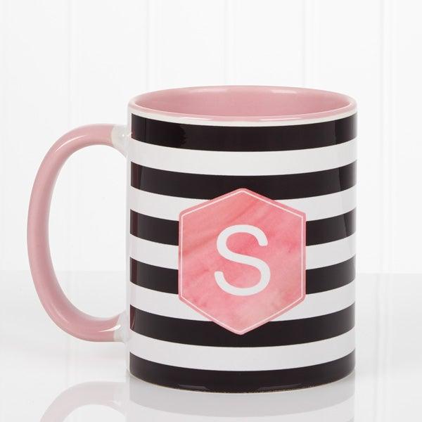 Personalized Ladies Watercolor Coffee Mugs - Modern Stripe - 17561