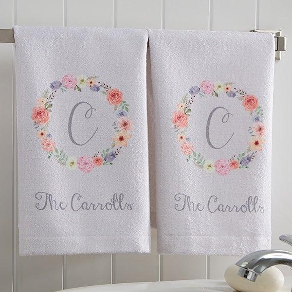 Personalized Monogram Hand Towel Set - Floral Wreath - 17574