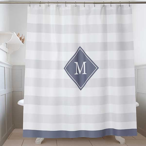 Classic Initial Monogram Shower Curtain