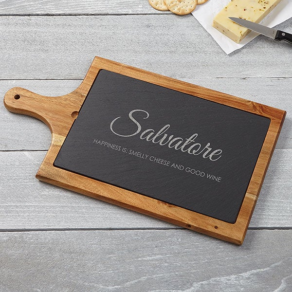 Classic Family Personalized Slate & Wood Paddle