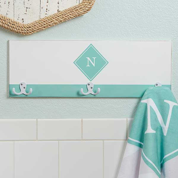 Personalized Towel Hook Rack - Initial - 17623
