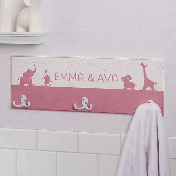 Personalized Towel Hook Rack - Baby Zoo Animals - 17629
