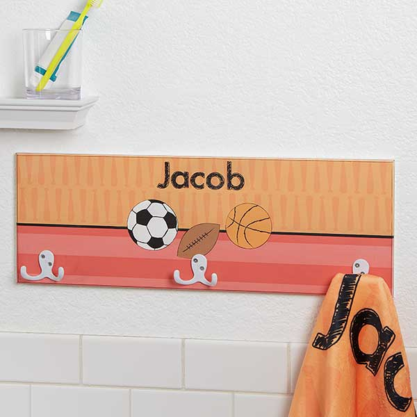 Kids Personalized Towel Hook Rack For Boys - 17634