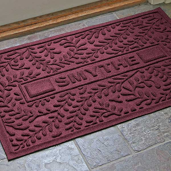 Personalized Leaves AquaShield Molded Doormat - Boxwood - 17651D
