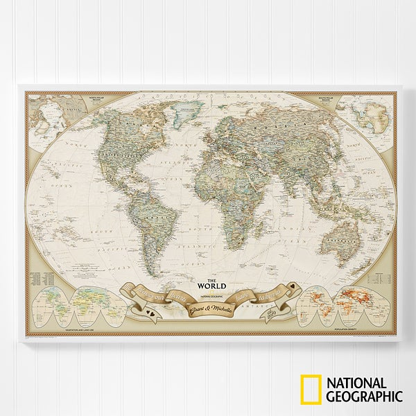 Romantic Travels 20x30 Personalized World. Map   For The Home