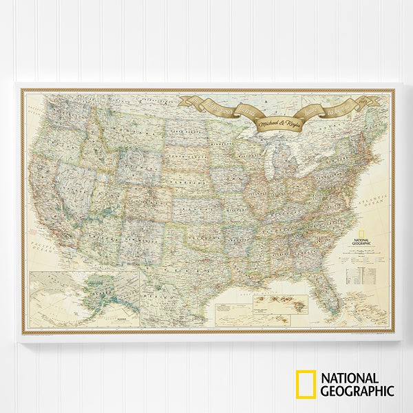 Personalized US Travel Map 24x36 Canvas With Pins - For The Home