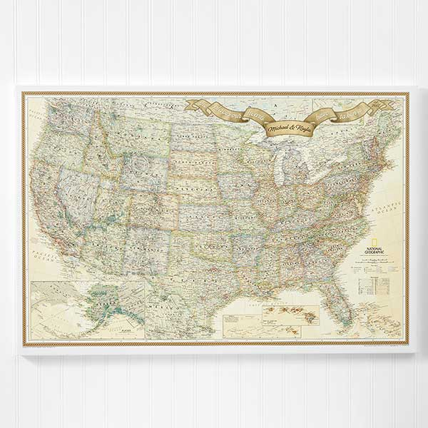 Personalized Us Travel Map 24x36 Canvas With Pins For The Home - National-geographic-us-map