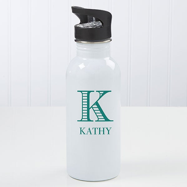 Personalized Water Bottle - Striped Monogram - 17684