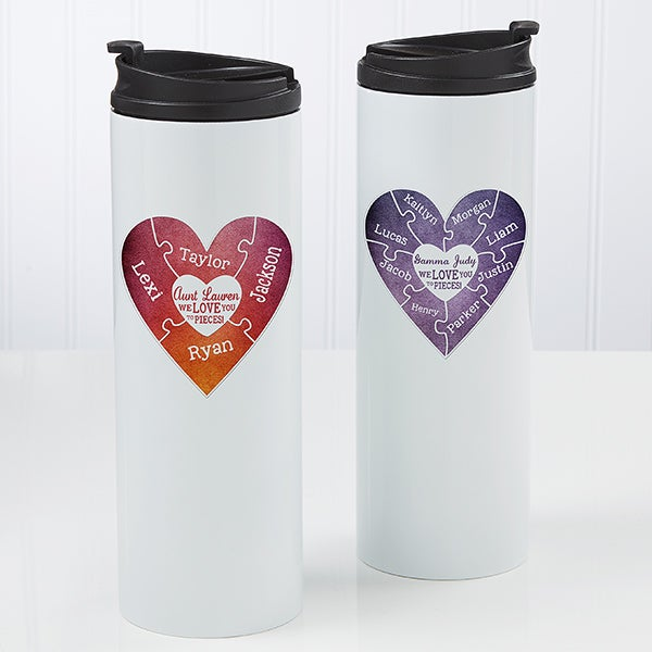 Personalized Heart Travel Tumbler - We Love You To Pieces - 17714