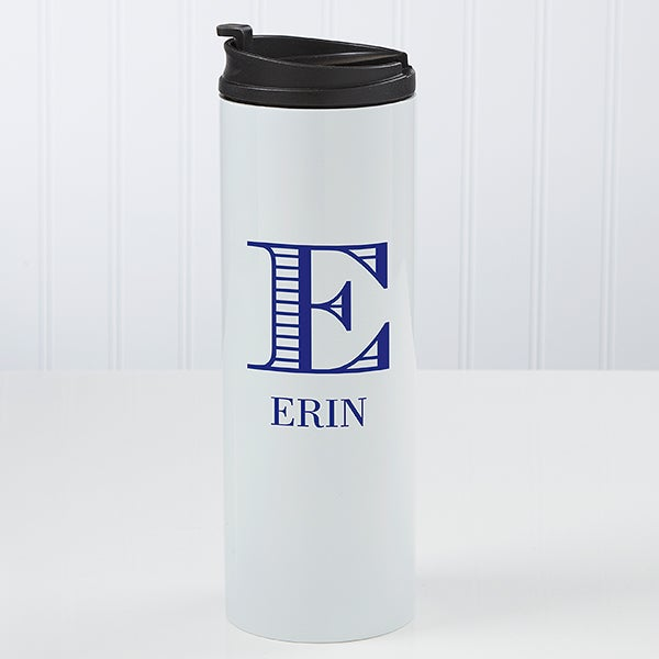 Personalized Travel Tumbler - Striped Monogram - 17715