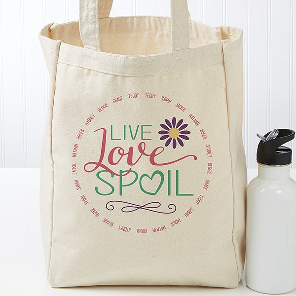 Personalized Grandma Canvas Tote Bag - Live, Love, Spoil - 17730
