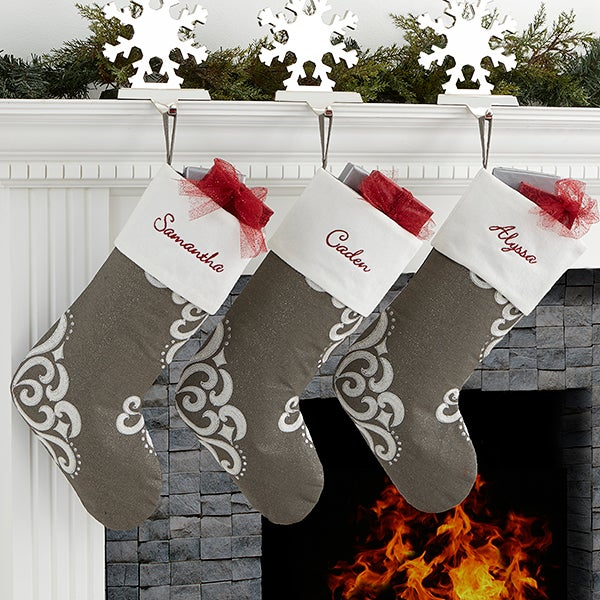 Christmas Stocking Personalized.Silver Luxe Personalized Christmas Stocking