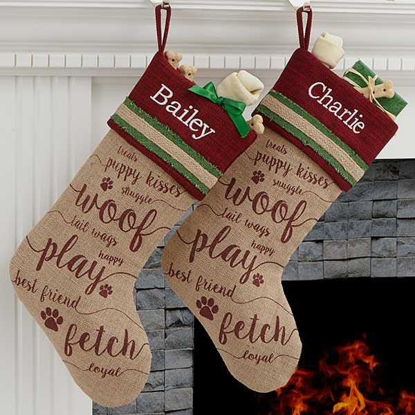 Dog Christmas Stocking.Merry Paws Personalized Dog Christmas Stocking