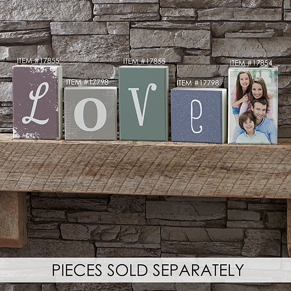 Personalized Square Shelf Blocks - Letter Decor - 17798