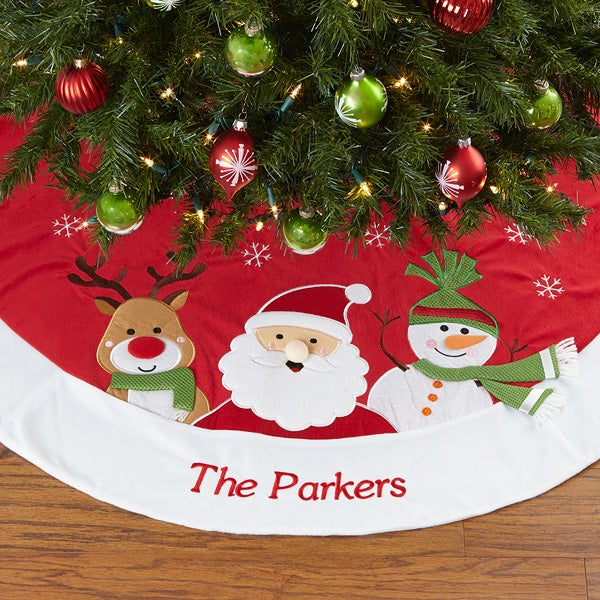 Embroidered Christmas Tree Skirt - Santa Claus Lane - 17801