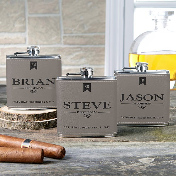 Personalized Leather Flasks For  Groomsmen - 17814