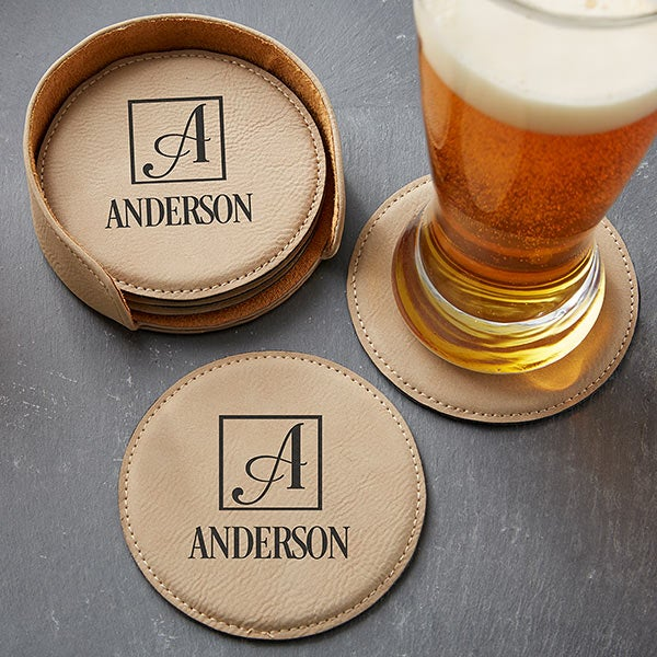 Personalized Square Monogram Coasters - 5pc Set - 17815