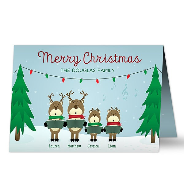 Personalized Reindeer Family Christmas Cards - 17827