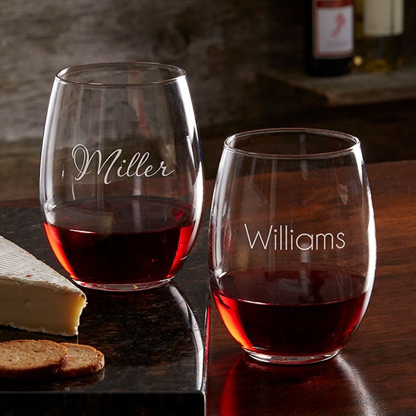 Classic Celebrations Personalized 21oz Stemless Wine Glasses