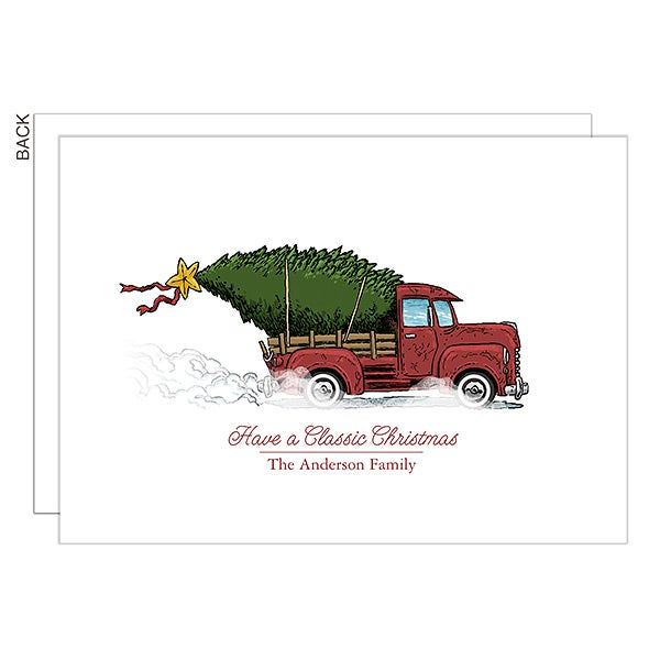Personalized Vintage Truck Christmas Cards Classic Christmas