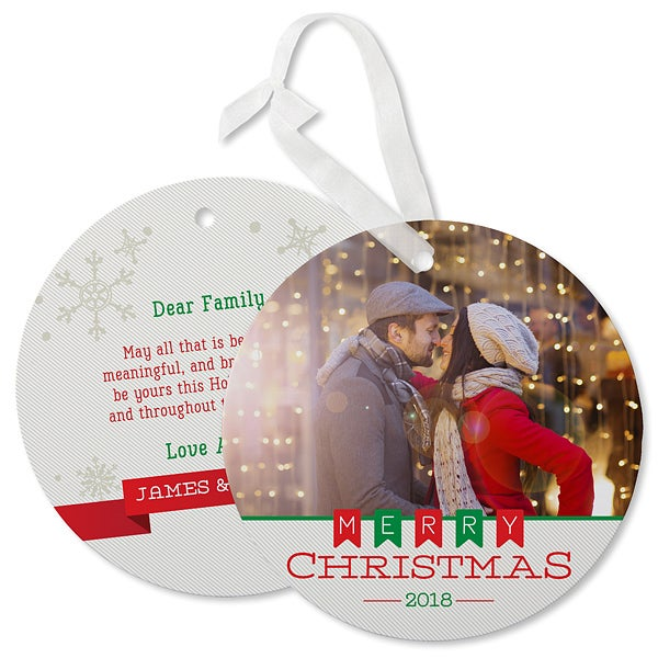 Holiday Banner Photo Ornament Christmas Card - 17842