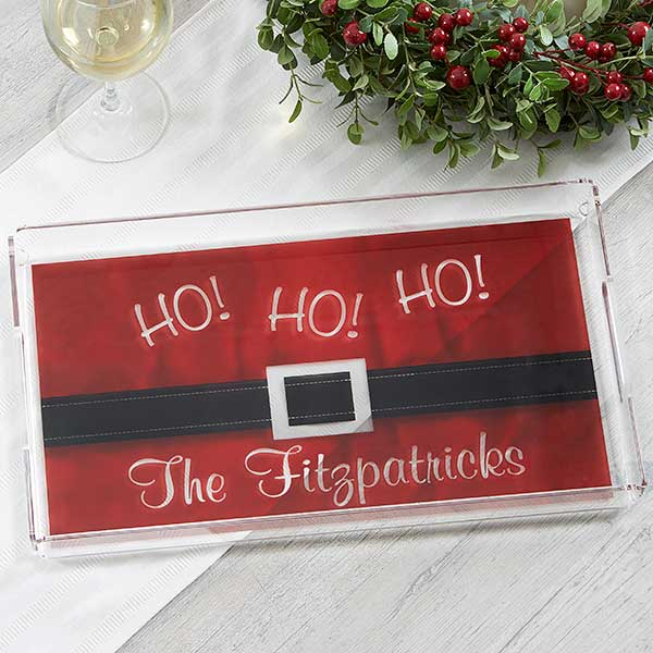 Personalized Christmas Serving Tray - Santa Belt - 17851
