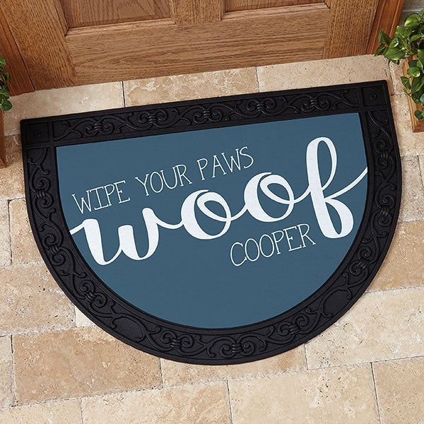 Personalized Half Round Doormat - Woof & Meow - 17867