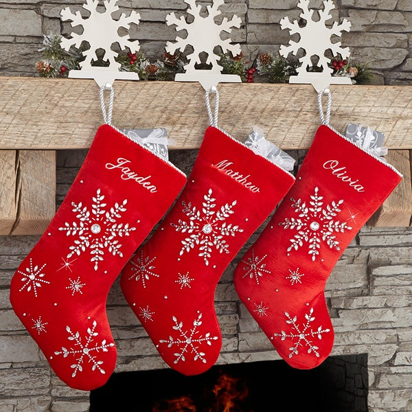 Christmas Stocking Personalized.Season S Sparkle Embroidered Christmas Stocking