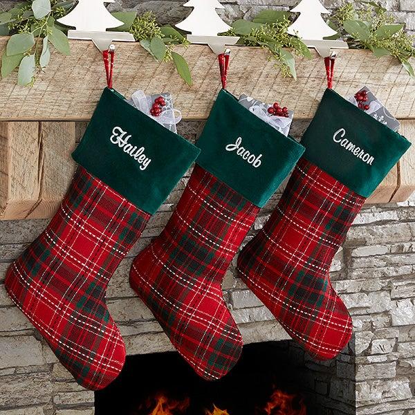 Personalized Holiday Plaid Christmas Stocking - 17895