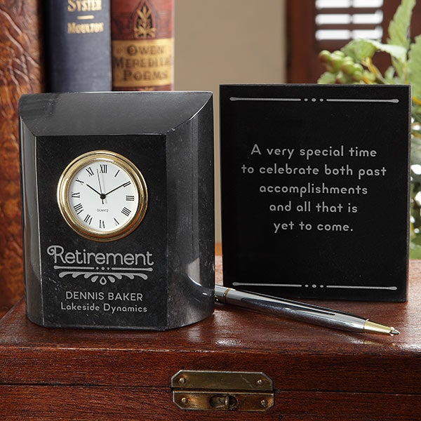 Personalized Desk Clock Retirement Gift