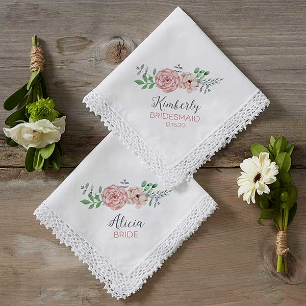 Mother of the Bride Personalised Handkerchief Favour Gift Wreath Flowers Wedding