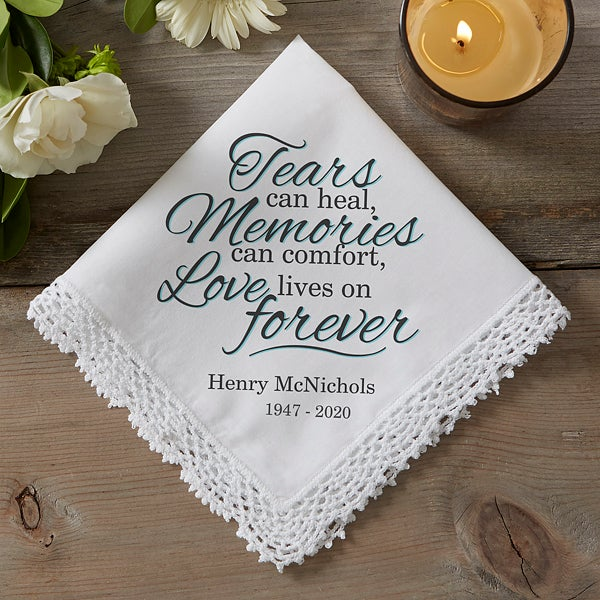 Personalised Handkerchief Memorial Sympathy Funeral Favor Gift Remembrance Photo