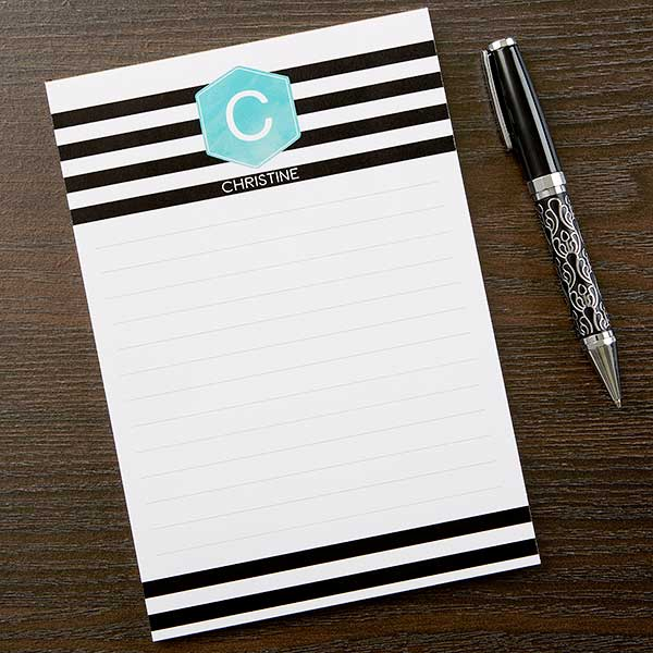 Personalized Notepads - Modern Stripe Design - 17923