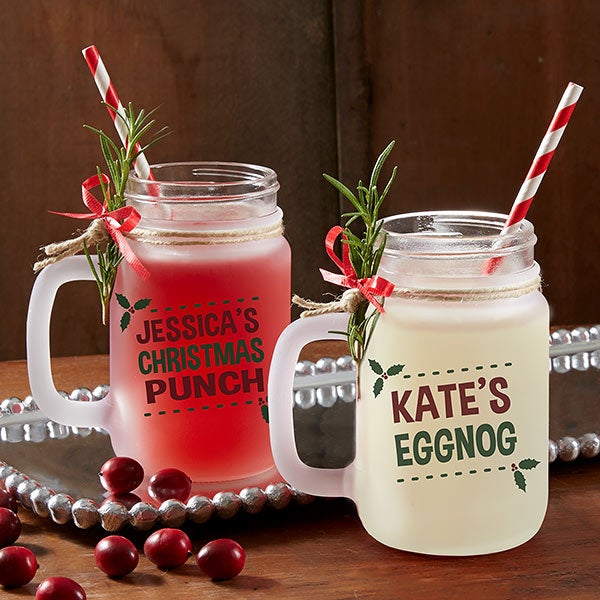 Personalized Frosted Mason Jars - Eat, Drink & Be Merry - 17934