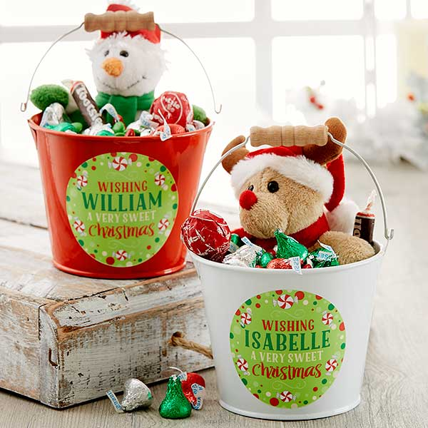 Personalized Mini Metal Bucket - Sweet Christmas